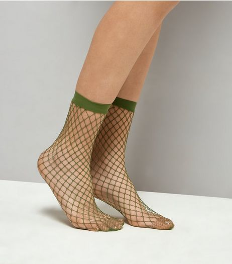 Khaki Oversized Fishnet Socks | New Look