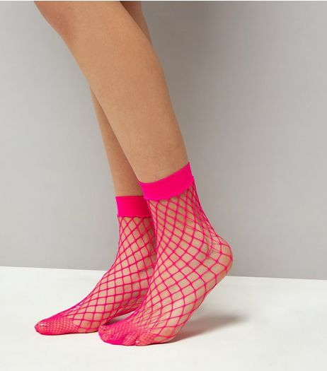 Bright Pink Oversized Fishnet Socks | New Look