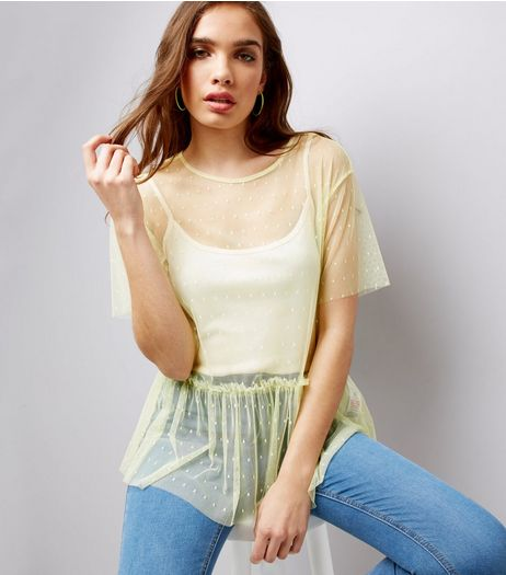 Yellow Spot Print Mesh Peplum Hem Top | New Look
