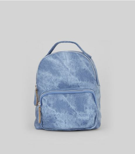 Blue Acid Wash Mini Backpack | New Look