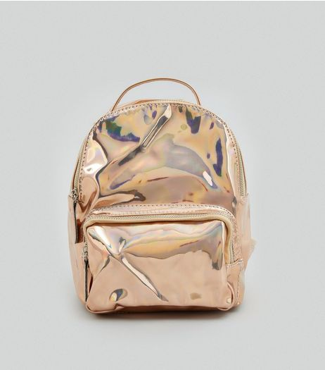 Rose Gold Holographic Backpack | New Look