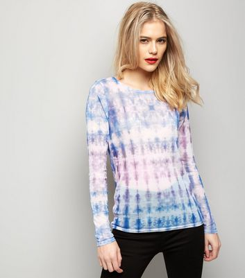 Blue Tie Dye Mesh Long Sleeve Top