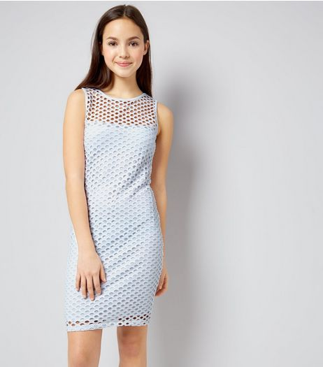 Teens White Circle Mesh Bodycon Dress | New Look
