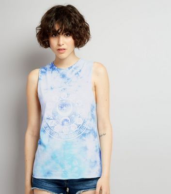 Blue Tie Dye Ladder Back Tank Top