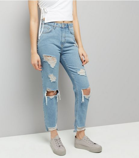 Blue Ripped Fray Hem Jeans  | New Look