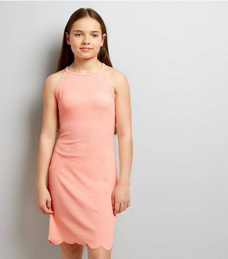 Teens Coral High Neck Scallop Hem Dress | New Look