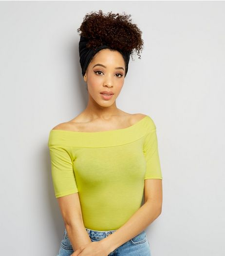 Yellow Bardot Neck 1/2 Sleeve Bodysuit | New Look
