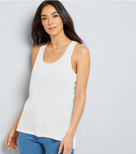 White Cotton Racer Back Vest | New Look