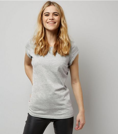 Grey Fitted Rolled Sleeve T-Shirt  | New Look