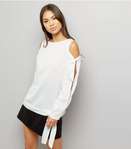 Anita and Green White Cold Shoulder Tie Sleeve Top | New Look