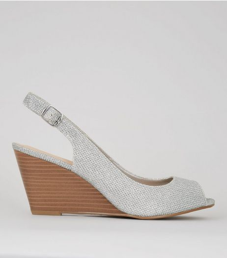 Silver Peep Toe Slingback Wedge Heels | New Look