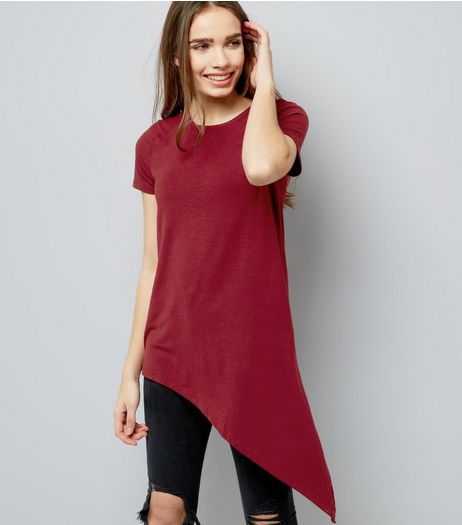 Red Asymmetric Hem T-Shirt | New Look