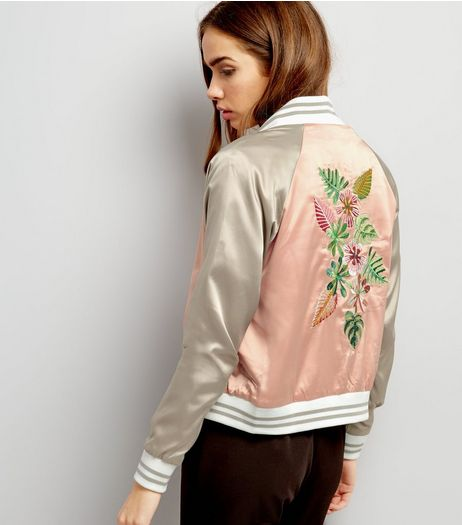 Blue Vanilla Orange Sateen Floral Embroidered Bomber Jacket | New Look