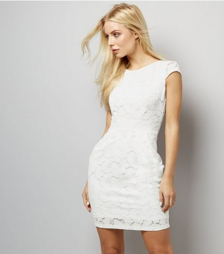 Blue Vanilla White Lace Tulip Dress | New Look
