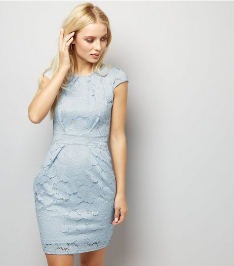 Blue Vanilla Pale Blue Lace Tulip Dress | New Look