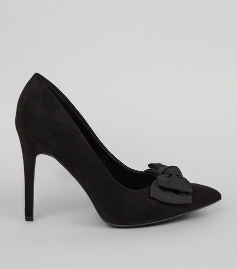 Wide Fit Black Bow Back Pointed Court Heels | New Look