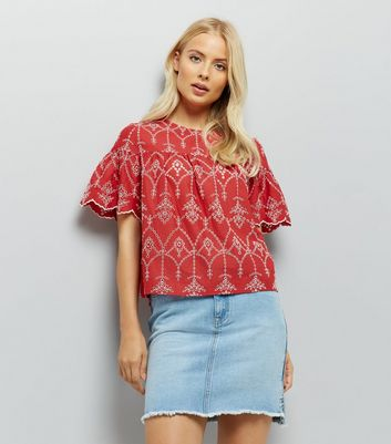 Red Cut Out Embroidered Smock Top