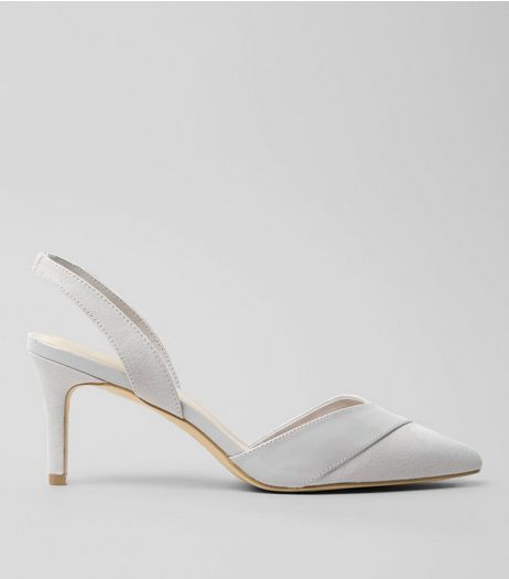 Wide Fit Grey Patent Trim Sling Back Heels  | New Look