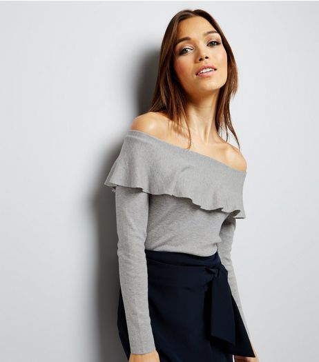Blue Vanilla Grey Frill Trim Bardot Neck Top | New Look