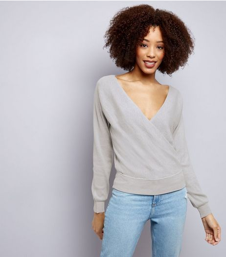 Blue Vanilla Grey Wrap Front Top | New Look