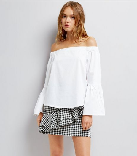 White Bardot Neck Flared Sleeve Top  | New Look