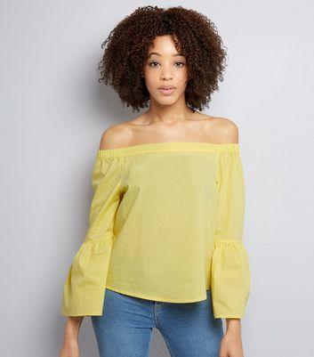 Yellow Flared Sleeve Bardot Neck Top