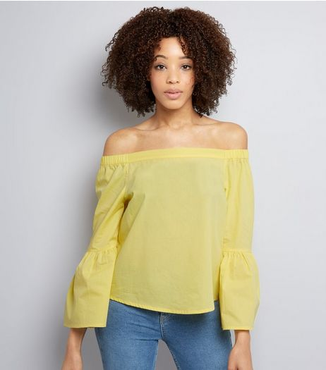 Yellow Flared Sleeve Bardot Neck Top  | New Look