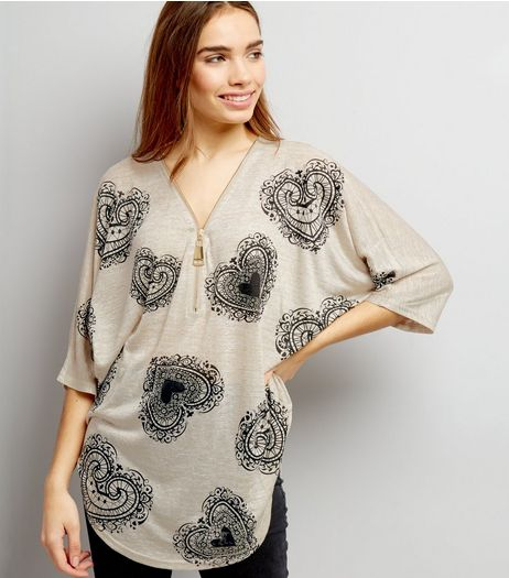 Blue Vanilla Stone Heart Print Zip Neck Top | New Look