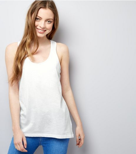 White Racer Back Dip Hem Vest | New Look