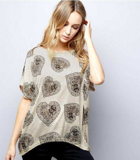 Blue Vanilla Stone Lace Heart Oversized Top | New Look