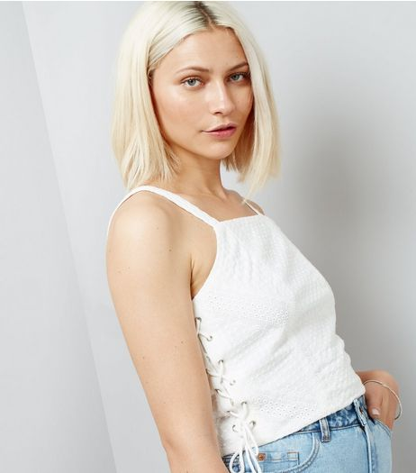 White Lace Side Crop Top  | New Look