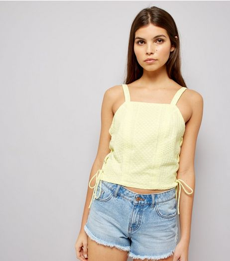 Soft Yellow Lace Side Crop Top | New Look