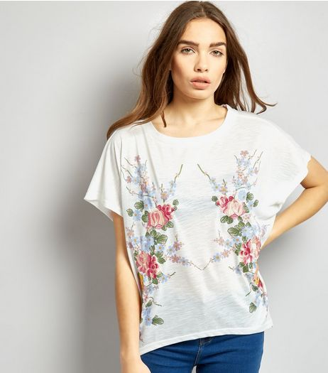 Blue Vanilla White Floral Embroidered Oversized T-Shirt | New Look