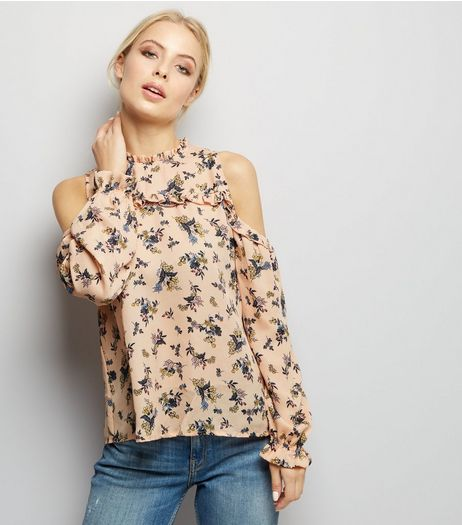 Blue Vanilla Coral Floral Cold Shoulder Frill Trim Top | New Look