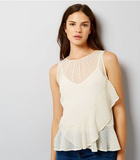 White Spot Print Frill Trim Chiffon Top | New Look