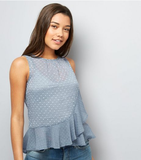 Blue Spot Print Frill Trim Chiffon Top | New Look