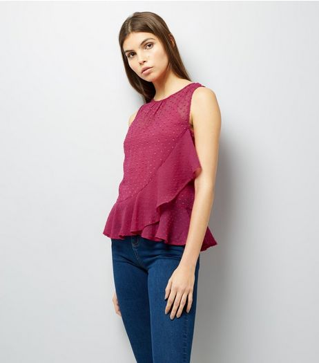 Deep Pink Spot Print Frill Trim Chiffon Top | New Look