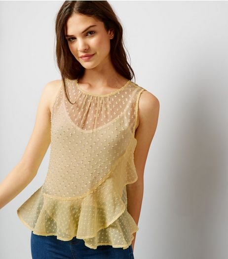 Yellow Spot Print Frill Trim Chiffon Top | New Look
