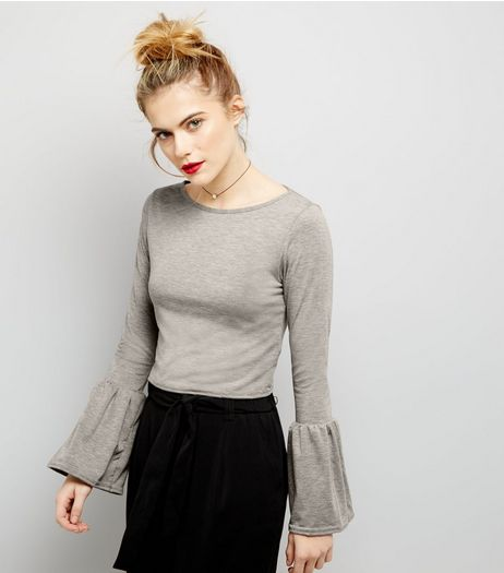Pink Vanilla Pale Grey Bell Sleeve Top | New Look