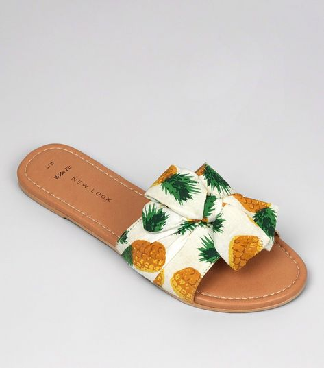 Wide Fit White Pineapple Print Bow Strap Mules | New Look