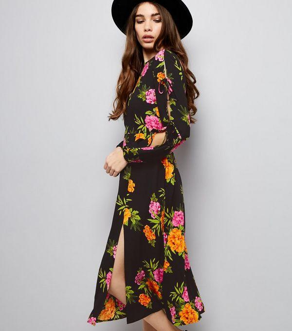 Black Floral Print Tie Sleeve Midi Dress
