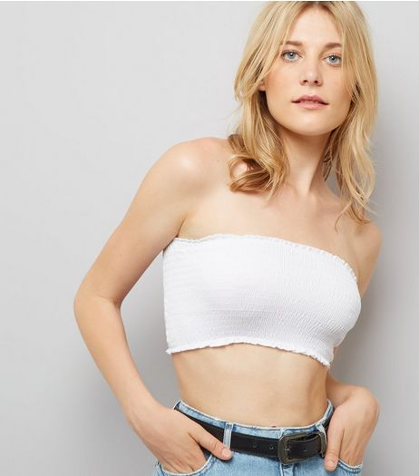 White Shirred Bandeau Top | New Look