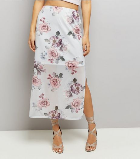 Grey Floral Print Split Side Midi Skirt  | New Look