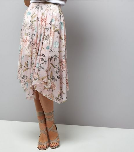 Light Grey Mesh Floral Print Hanky Hem Skirt  | New Look