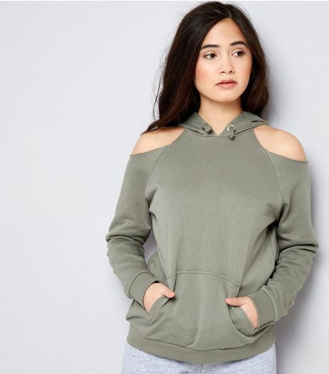 Teens Khaki Cold Shoulder Hoodie | New Look