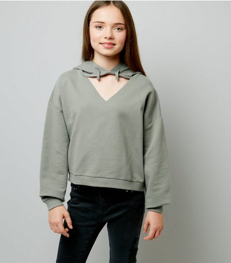 Teens Khaki Cut Out Front Hoodie | New Look