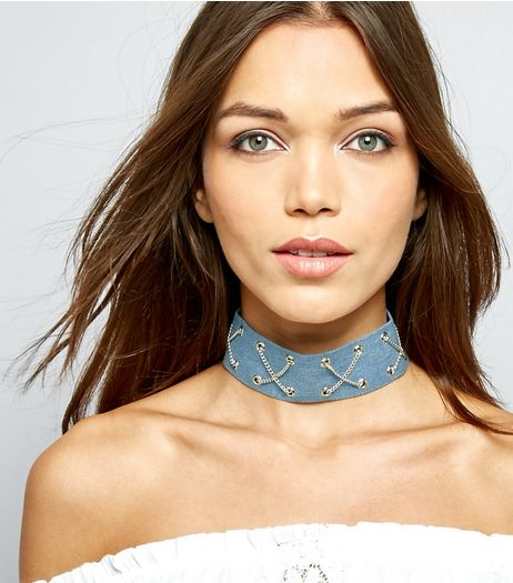 Blue Denim Cross Chain Choker  | New Look