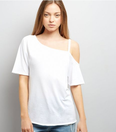White Asymmetric One Shoulder T-Shirt | New Look