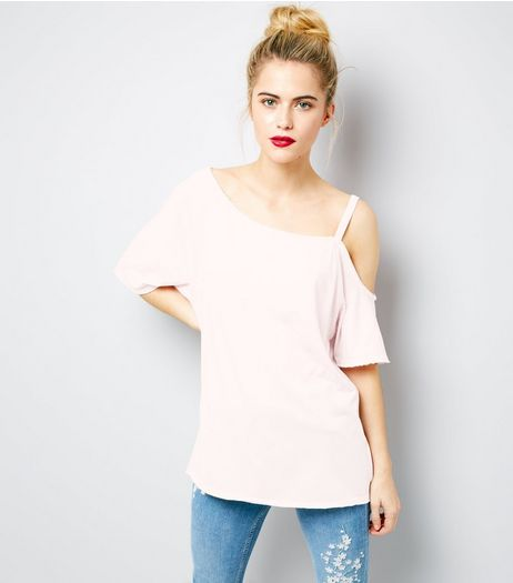Pink Asymmetric One Shoulder T-Shirt | New Look