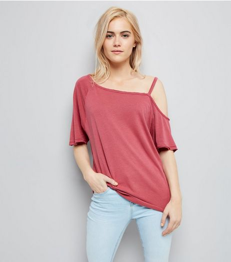Deep Pink Asymmetric One Shoulder T-Shirt | New Look